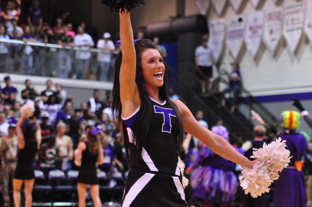 The Texan Cheer squads got the crowd warmed up before the basketball teams took the court. (TarletonSports.com)