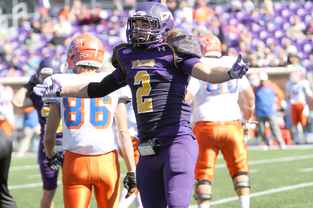 Cody Jones returned a Pick-6 in win over Louisiana College. (Photo Credit: Tammy Kelley)