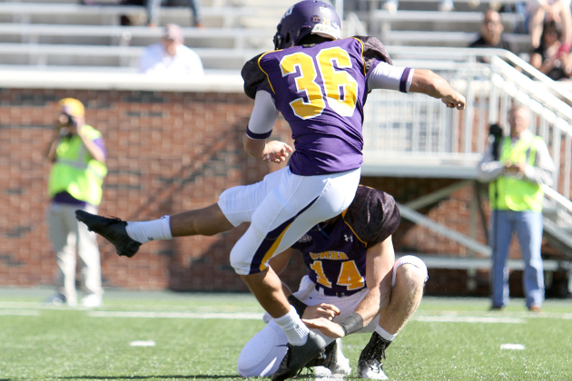 Drew Owen kicks a field goal agains Howard Payne. (Photo Credit: Tammy Kelley)