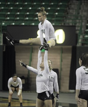 Baylor's acrobatics and tumbling ended its season with a loss to Oregon in the semifinal.