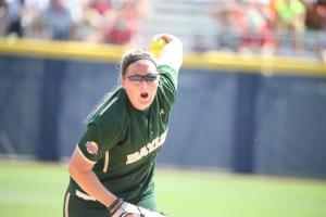 Whitney Canion pitches in an 11-0 run-rule loss to Florida to open the WCWS (@BaylorSoftball Twitter)