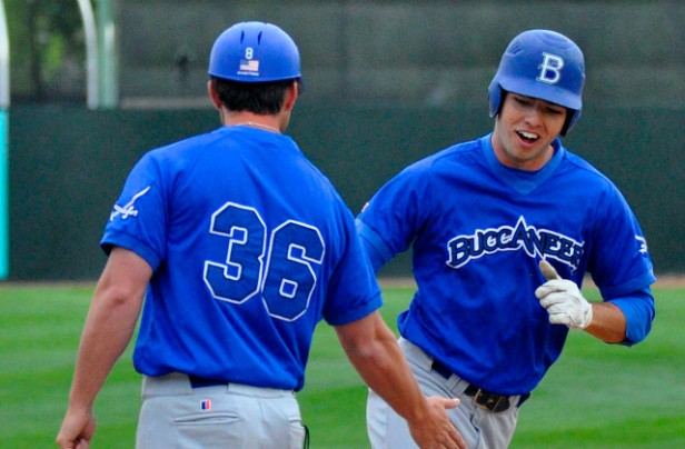 Blinn freshman Stephen Stuart hits two home runs for a 7-4 win over Cochise College in 2014 JUCO World Series. (Buccaneer Sports)