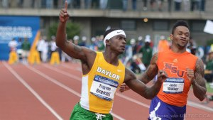 Baylor's Trayvon Bromell wins national title and sets World Junior Record in 100 meters in Eugene, Ore.  on June 14, 2014 (USTFCCCA)