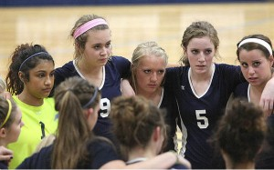 The faces of (left to right beginning with No. 1) Lauren Gutierrez, Nicona Stilwell, Sierra Varnado, Kaleigh Conger and Mikayla Hobbs expressed all business during a timeout in Stephenville's victory over Brownwood at Gandy Gym Tuesday evening. (Photo by BRAD KEITH)