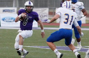Junior Collin Strahan set Tarleton's school record for rushing yards by a quarterback for the second time this season in an 80-14 shellacking of Texas A&M-Kingsville at Memorial Stadium Saturday. (Photo by RUSSELL HUFFMAN)