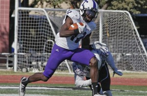 Clifton Rhodes III, a senior from Fort Worth, set the Tarleton State career record for receiving yards at McMurry in Abilene Saturday. (Photo by RUSSELL HUFFMAN)