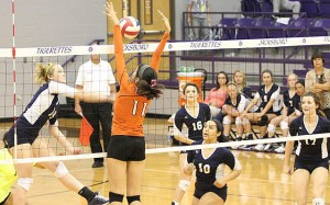 Morgan Gibson rips a shot for one of her 13 kills during Stephenville's three-set bi-district sweep of Burkburnett at Jacksboro High School Tuesday. (Photo by BRAD KEITH)