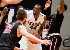 Damion Clemons (44) scored 15 points off  the Texan bench to lead Tarleton to second straight 5-0 start. (Tarleton Sports courtesy photo.)