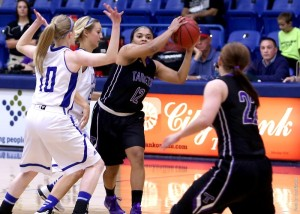 Kathy Thomas (12) scored 17 points as TexAnns knock off Texas-Permian Basin in final game of LCU Invitational in Lubbock on November 29, 2014. (Tarleton Sports courtesy photo.)