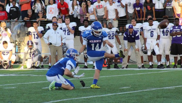 Temple kicker Cole Martin makes a 42 yard field goal as time expires to lift Temple over Fort Bend Ridge Point 38-35 at Cypress. (Temple Wildcats Athletics Facebook photo.)