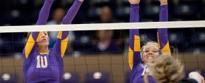 Abby Voskuil (14) and Cheyenne Dowdey (10) led the Cru with eight kills apiece and Dowdey added three solo blocks and four block assists. (UMHB Athletics courtesy photo.)