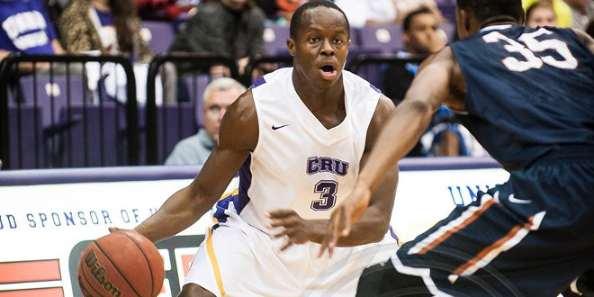 Jerard Graham drilled a long-range three with 26 seconds left in regulation to help UMHB win in overtime over Louisiana College. (David Morris / Centexphoto Facebook photo)