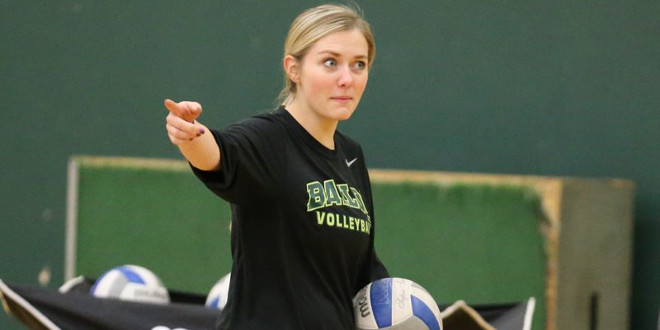 Baylor volleyball head coach Ryan McGuyre has promoted director of BU volleyball operations Sam Erger to Assistant Coach. (Baylor Athletics Facebook photo)