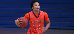 McLennan's Alex Mills scored points to lead the Highlanders to a 75-72 win over North Lakes.(MCC Athletics courtesy photo.)