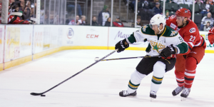 Stars captain Maxime Fortunus tallied his 200th career assist in the 4-0 over Charlotte on Saturday night. (Photo Credit:  Christina Shapiro)